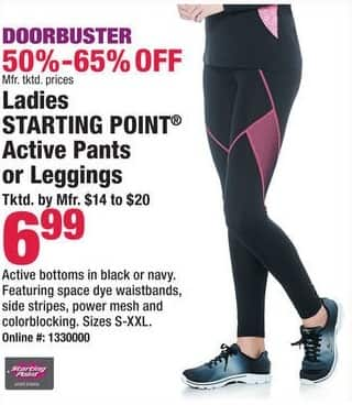 Boscov's Black Friday: Ladies Starting Point Active Pants or Leggings for $6.99