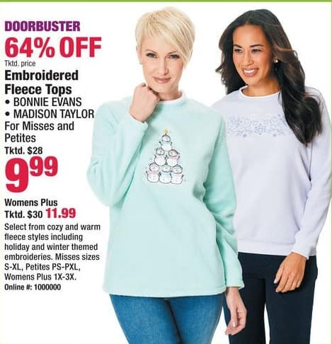 Boscov's Black Friday: Bonnie Evans or Madison Taylor Embroidered Fleece Tops for $9.99 - $11.99