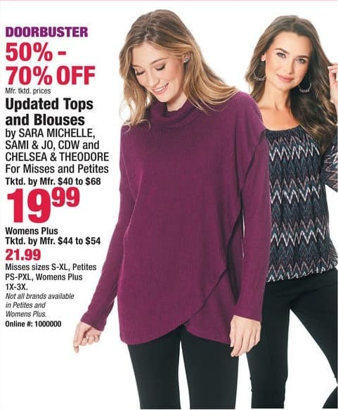 Boscov's Black Friday: Sara Michelle, Sami & Jo, CDW and Chelsea & Theodore Tops and Blouses for $19.99 - $21.99