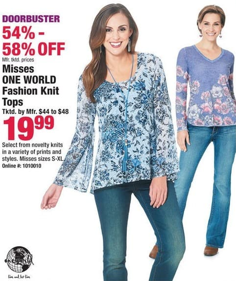 Boscov's Black Friday: Misses One World Fashion Knit Tops for $19.99