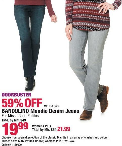 Boscov's Black Friday: Bandolino Mandie Denim Jeans for $19.99 - $21.99
