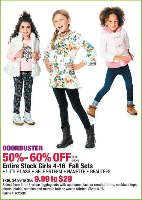 Boscov's Black Friday: Entire Stock of Girls 4-16 Fall Sets - 50 - 60% Off