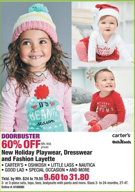 Boscov's Black Friday: Carter's, Oshkosh, Nautica and More Holiday Playwear, Dresswear and Fashion Layette - 60% Off