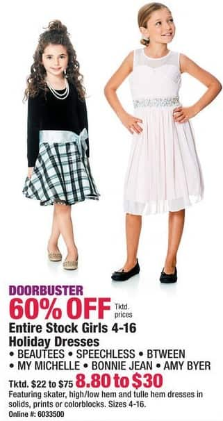 Boscov's Black Friday: Entire Stock of Girls 4-16 Holiday Dresses - 60% Off