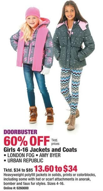 Boscov's Black Friday: London Fog, Amy Byer, and Urban Republic Girls 4-16 Jackets and Coats - 60% Off