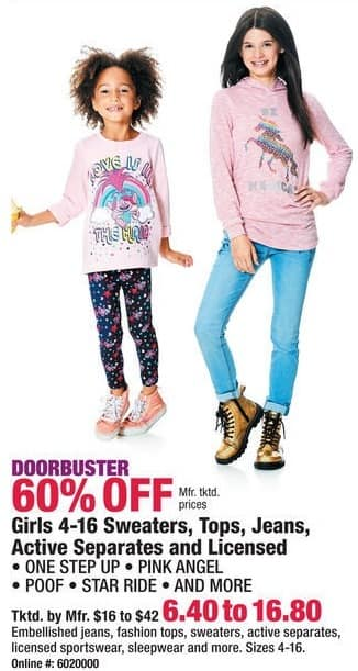 Boscov's Black Friday: Girls 4-16 Sweaters, Tops, Jeans, Active Separates and Licensed Sportswear - 60% Off