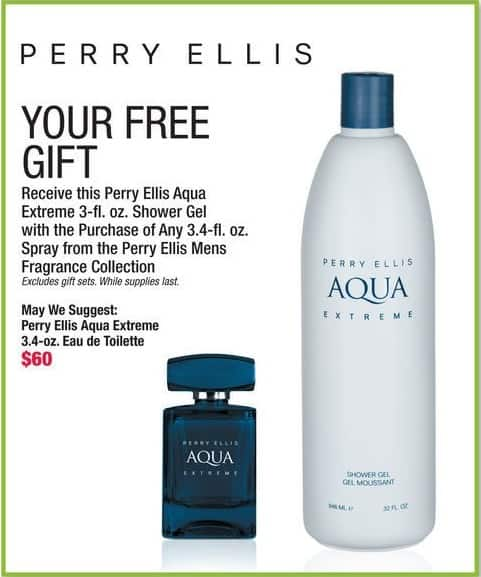 Boscov's Black Friday: Free Perry Ellis Aqua Extreme 3-fl. oz. Shower Gel w/ Purchase of Any 3.4 fl. oz. Spray From The Perry Ellis Mens Fragrance Collection - w/ Purchase