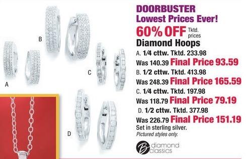 Boscov's Black Friday: Select Diamond Hoop Earrings - 60% Off
