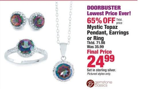 Boscov's Black Friday: Mystic Topaz Pendant, Earrings or Ring for $24.99