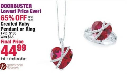Boscov's Black Friday: Created Ruby Pendant or Ring for $44.99