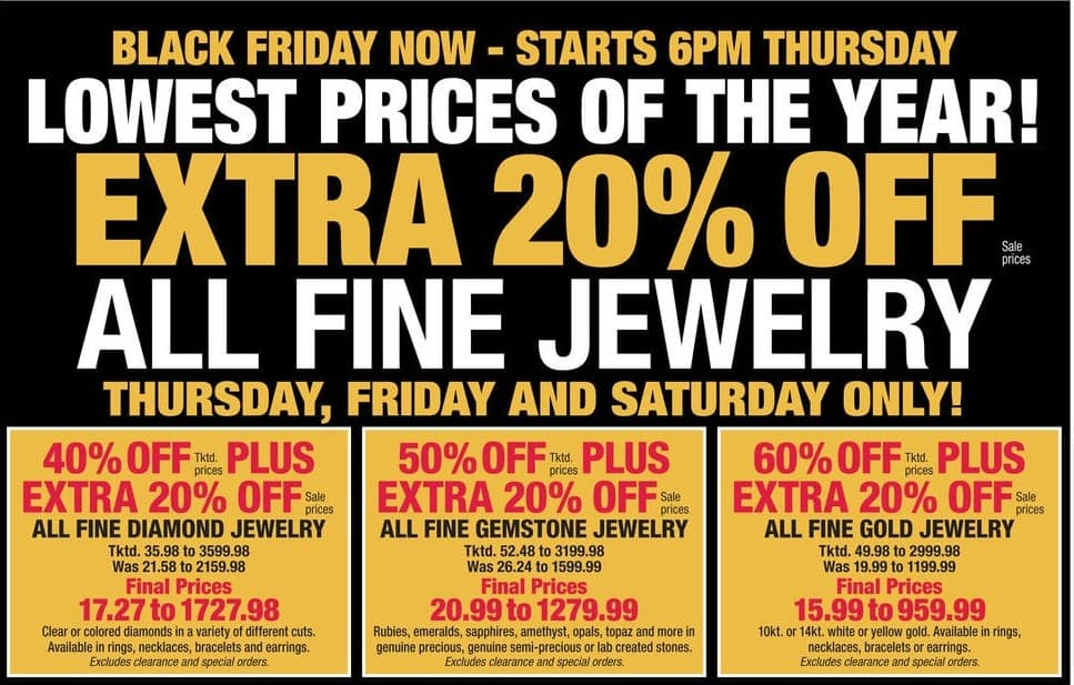 Boscov's Black Friday: All Fine Gold Jewelry - 60% + Extra 20% Off