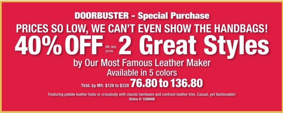 Boscov's Black Friday: 2 Great Style Famous Leather Maker Purses - 40% Off