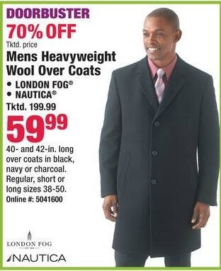 Boscov's Black Friday: Nautica And London Fog Mens Heavyweight Wool Over Coats for $59.99