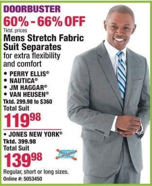 Boscov's Black Friday: Mens Stretch Fabric Suit Separates by Perry Ellis, Nautica and More for $119.98 - $139.98