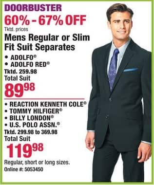 Boscov's Black Friday: Mens Regular or Slim Fit Suit Separates From Adolfo, Kenneth Cole, Tommy Hilfiger and More for $89.98 - $119.98