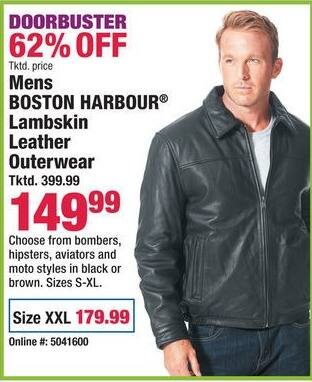 Boscov's Black Friday: Mens Boston Harbour Lambskin Leather Outerwear for $149.99 - $179.99
