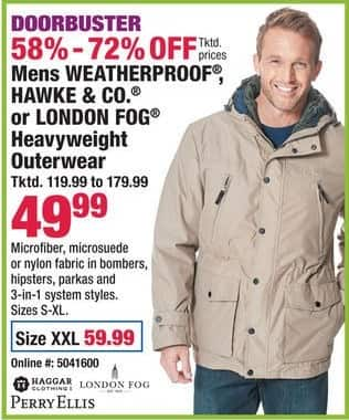 Boscov's Black Friday: Mens Weatherproof Hawke & Co. or London Fog Heavyweight Outerwear for $49.99 - $59.99