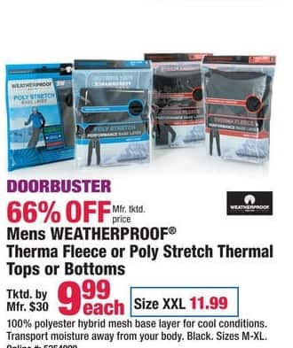 Boscov's Black Friday: Mens Weatherproof Therma Fleece or Poly Stretch Thermal Tops or Bottoms for $9.99 - $11.99