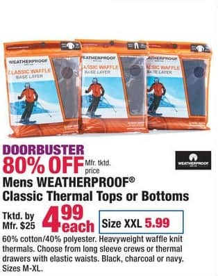 Boscov's Black Friday: Mens Weatherproof Classic Thermal Tops or Bottoms for $4.99 - $5.99