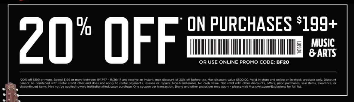 Music & Arts Black Friday: 20% Off Purchase of $199+ Instore or Online - 20% Off
