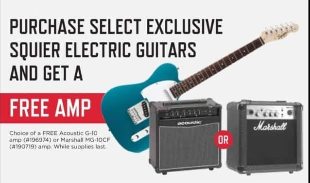 Music & Arts Black Friday: Free Amp w/ Purchase of Select Exclusive Squier Electric Guitars - w/ Purchase