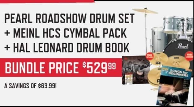 Music & Arts Black Friday: Pearl Roadshow Drum Set, Meinl HCS Cymbal Pack and Hal Leonard Drum Book Bundle for $529.99