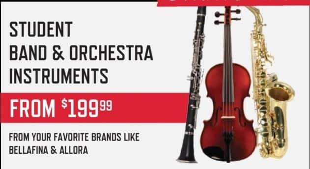 Music & Arts Black Friday: Student Band & Orchestra Instruments - From $199.99