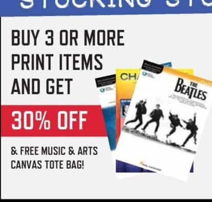 Music & Arts Black Friday: Buy 3 or More Print Items and Get 30% Off & Free Music & Arts Canvas Tote Bag - 30% Off