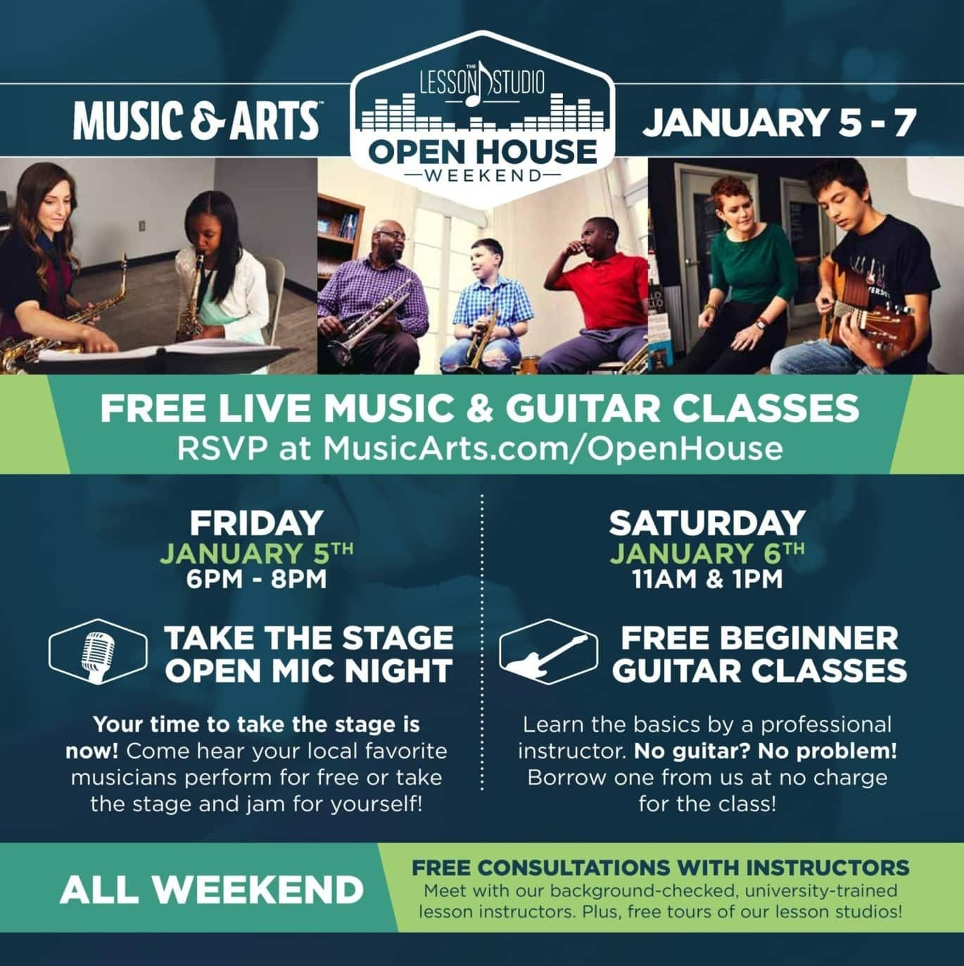 Music & Arts Black Friday: Open Mic Weekend w/ Live Music and Guitar Classes, Jan 5-7 - Free