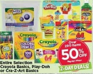 AC Moore Black Friday: Entire Selection Crayola Basics, Play-Doh, or Cra-Z-Art Basics - 50% Off