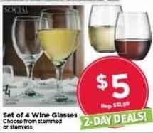 AC Moore Black Friday: Set of 4 Wine Glasses for $5.00