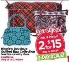 AC Moore Black Friday: ( 2 ) Nicole's Boutique Quilted Bag Collection for $15.00
