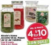AC Moore Black Friday: ( 4 ) Nicole's Home Accents 18-oz. Mason Jar or Jar Candles for $10.00