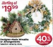 AC Moore Black Friday: Designer-Made Wreaths or Arrangements - 40% Off
