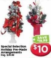 AC Moore Black Friday: Special Selection Holiday Pre-Made Arrangements for $10.00