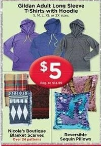 AC Moore Black Friday: Gildan Adult Hoodies, Nicole's  Boutique Blanket Scarves, and Reversible Sequin Pillows for $5.00
