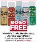 AC Moore Black Friday: Nicole's Craft Studio 2-oz. Acrylic Craft Paint - B1G1 Free