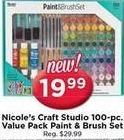 AC Moore Black Friday: Nicole's Craft Studio 100-pc. Value Pack Paint & Brush Set for $19.99