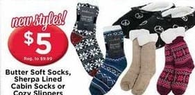 AC Moore Black Friday: Butter Soft Socks, Sherpa Lined Cabin Socks, or Cozy Slippers for $5.00