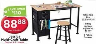 AC Moore Black Friday: Jessica Multi-Craft Table for $88.88
