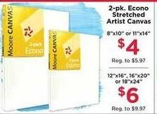 AC Moore Black Friday: 2pk Econo Stretched Artist Canvas for $4.00 - $6.00