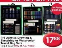 AC Moore Black Friday: Pre Acrylic, Drawing & Sketching or Watercolor Travel Bag Sets for $17.88