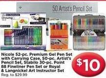 AC Moore Black Friday: Nicoles 52 pc Gel Pen Set, Artist's Pencil Set, Stablio 30 pc Point 88 Fineliner Pen Set and More for $10.00