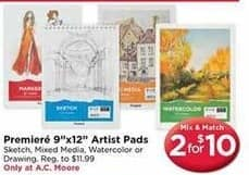 """AC Moore Black Friday: ( 2 ) Premiere 9"""" x 12"""" Artist Pads for $10.00"""