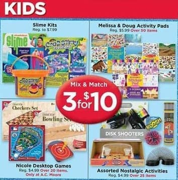 AC Moore Black Friday: ( 3 ) Slime Kits, Melissa & Doug Activity Pads, Nicole Desktop Games and Asst. Nostalgic Activities for $10.00