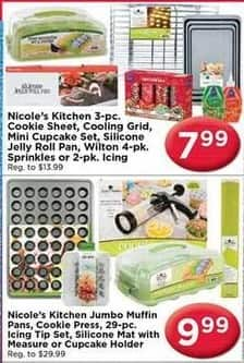 AC Moore Black Friday: Nicole's Kitchen 3 pc. Cookie Sheet, Cooling Grid, Mini Cupcake Set and More for $7.99 - $9.99