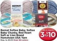 AC Moore Black Friday: ( 3 ) Bernat Softee Baby, Softee Baby Chunky, Red Heart Soft or Lion Brand Hometown USA Yard for $10.00