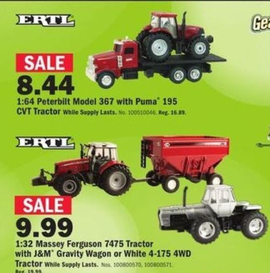 Mills Fleet Farm Black Friday: ERTL 1:32 Massey Ferguson 7475 Tractor w/ J&M Gravity Wagon or White 4-175 4WD Tractor for $9.99