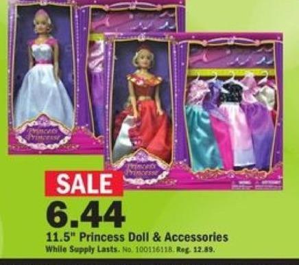 "Mills Fleet Farm Black Friday: 11.5"" Princess Doll & Accessories for $6.44"