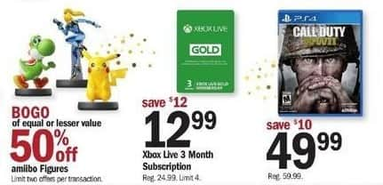 Meijer Black Friday: Xbox Live 3 Month Subscription for $12.99